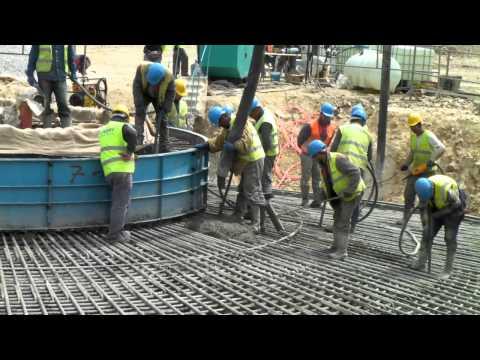 Concrete pouring of wind turbine foundation