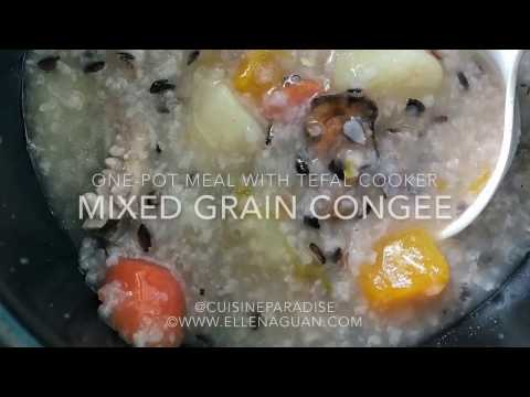 Mixed Grain Congee using Tefal Spherical Pot Rice Cooker
