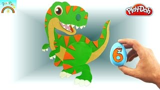 Play Doh  ( cute dinosaur tyrannosaurus) for kids surprise eggs opening