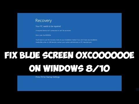 Fix Blue Screen 0xc000000e on Windows 8/10