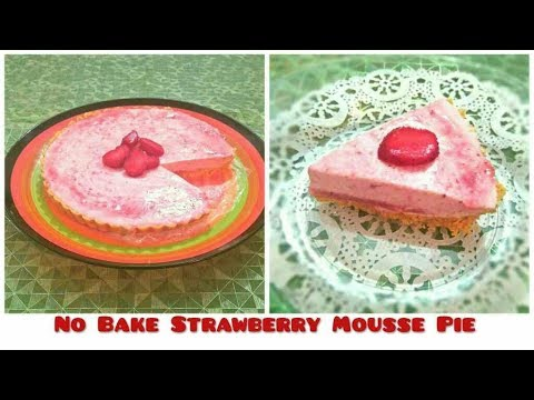 No Bake Strawberry Mousse Pie. Strawberry Dessert Recipe