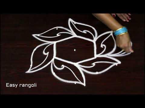 easy & simple rangoli designs with 5 dots * beautiful kolam * creative muggulu * daily rangavalli