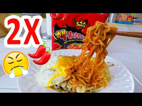 Nuclear Fire Noodles with EGG, 2x spicy ramen!