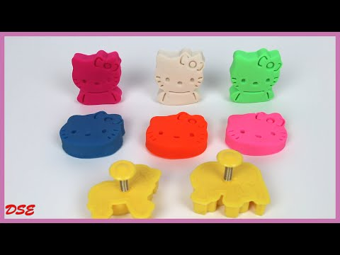HELLO KITTY Playdough with Lion and Elephant Mould! Play Dough HELLO KITTY! Learning Colors for Kids