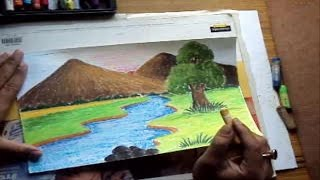 How To Draw A Landscape With Mountains & River In Pastel Color