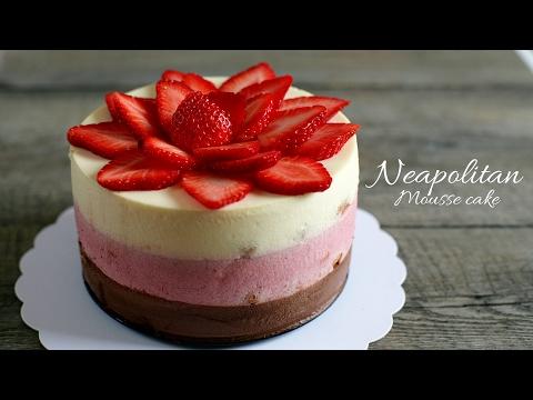 (no-oven) NEAPOLITAN MOUSSE CAKE recipe - Cách làm bánh MOUSSE DÂU, CHOCOLATE, VANI