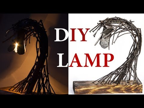 Forged Nails LAMP from metal SCRAP; SECRET Switch ; DIY