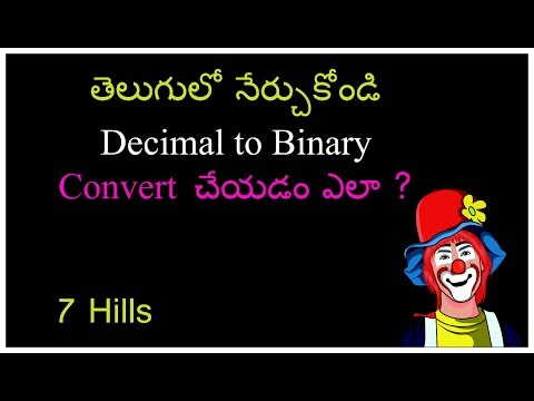 Decimal to binary convert in telugu