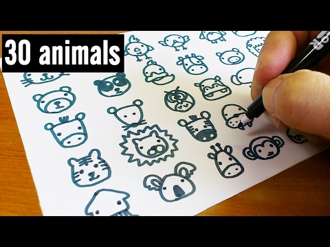 How to draw 30 animals cute doodle !  kawaii & easy doodle for kids