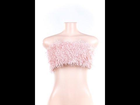 Pink CUTE Furry Little Bra Wholesale Tops