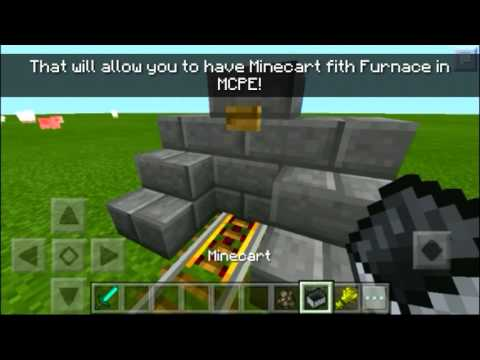 Minecart with Furnace MCPE trick! Mcpe 0.15.6 awesome Minecart engine!