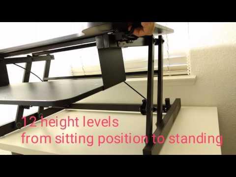 Beegod Sit-Stand Workstation Desk Riser with Wide Platform and Adjustable Height