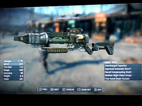 Fallout 4 Legendary Laser Fusion Cell Rifles and small arms Xbox one NO mods