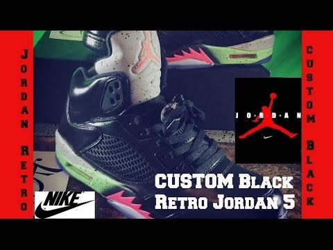 Custom nike Air Jordans Retro 5 Black Pro Star Poisons Alternate