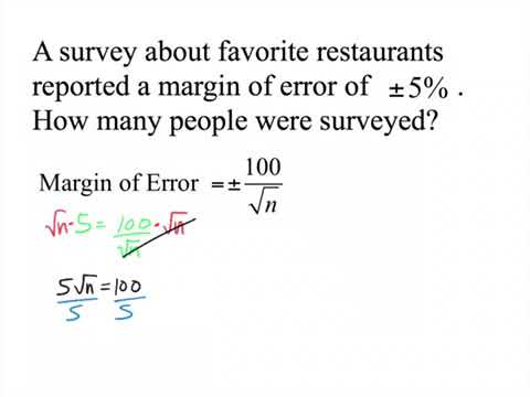 Finding the Sample Size given the Margin of Error