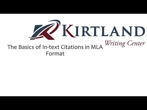 The Basics of In-text Citation in MLA Format
