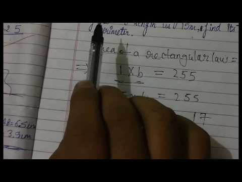 How to find perimeter of rectangle ? Length and area is given. Explained Class-7 & 8
