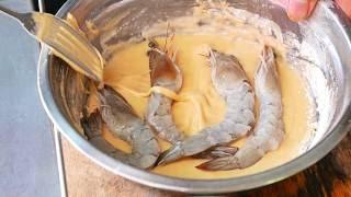 柬埔寨路邊小吃 - 油炸打擊大蝦海鮮