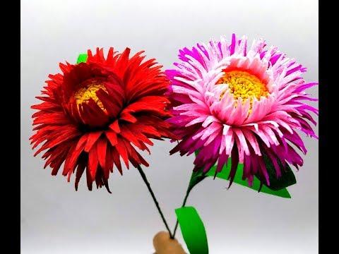 How to make Crepe Paper Flowers Straw Flower / Xerochrysum bracteatum( flower # 271)