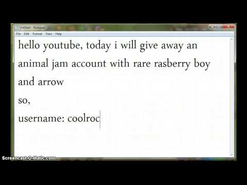 animal jam account with rasberry bow and arrow giveaway