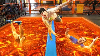 EXTREME FLOOR IS LAVA IN TRAMPOLINE PARK!