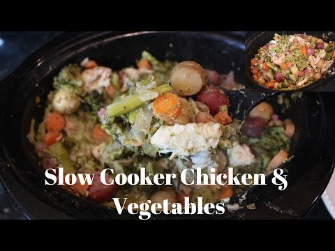 Crockpot Chicken Dinner Recipe: One Pot Chicken, Potatoes, Asparagus, & Broccoli