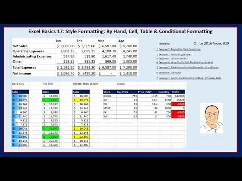 Excel Basics 17: Style Formatting: By Hand, Cell, Table & Conditional Formatting