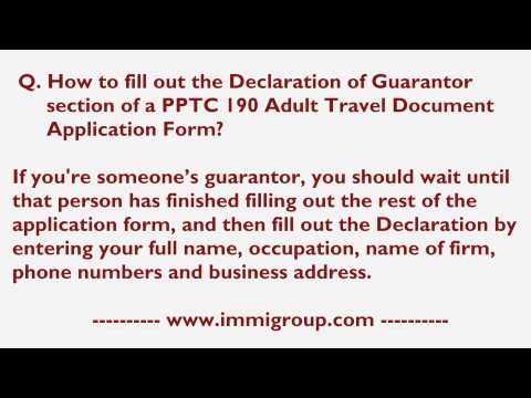 How to fill out the Declaration of Guarantor section of a PPTC 190 Adult Travel DAF?