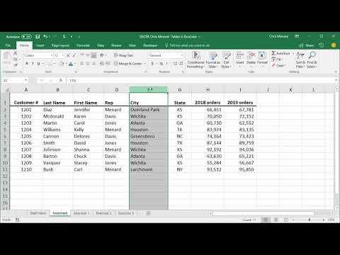 Tables in Excel by Chris Menard - Video 1