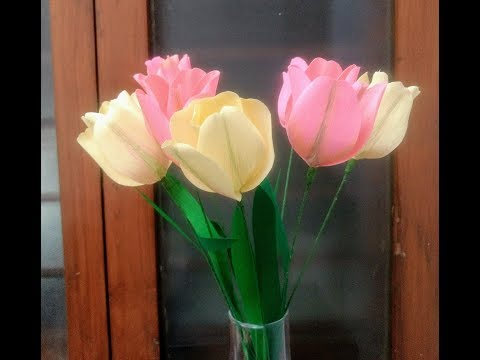 How to make Crepe Paper Flowers Tulips bi-coloured ( flower # 222)