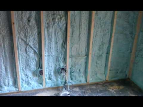 Spray foam insulation for basement walls.