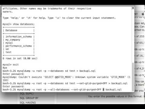 MySQL Tutorials: How to take dump/backup of more that one databases or all databases in one command