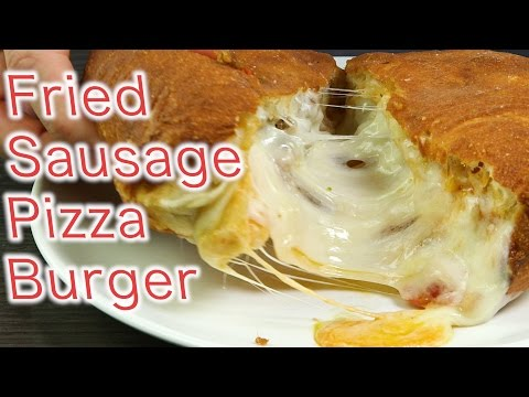 Fried Sausage Pizza Burger