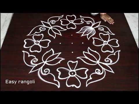 flower kolam designs with 9 dots *easy rangoli designs *simple muggulu with dots * atest rangavalli
