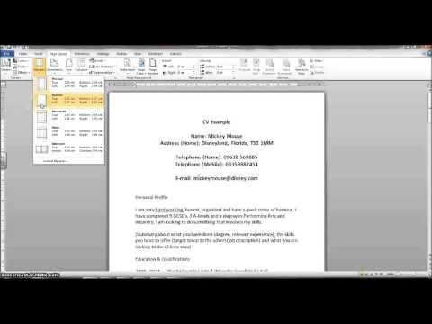 CV Creation - adjust margins using MS Word