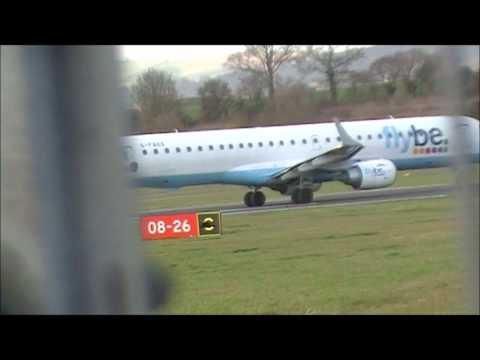 Flybe embraer 195 Taxi, Backtrack and Depart's Exeter Airport