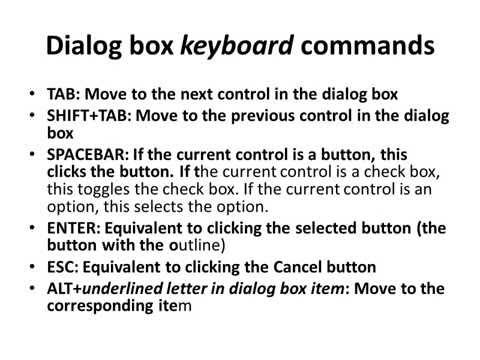 Dialog box keyboard commands