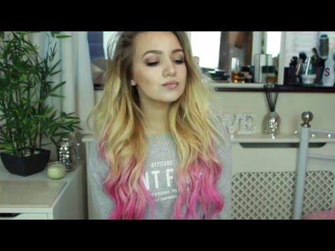 How to do rainbow tips with hair chalk on hair extensions