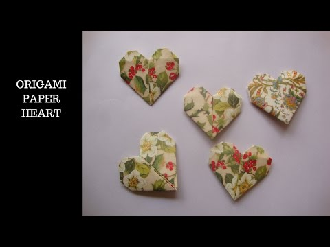 origami paper folding. origami corazón de papel.