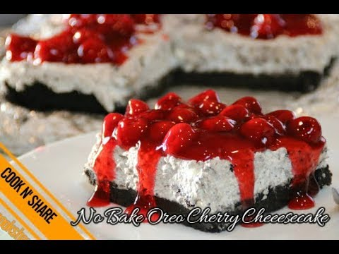 Heavenly No Bake Oreo Cherry Cheesecake - 5 Ingredients