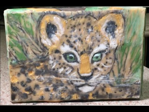 Making Leopard Cub Art Soap-Cold Process Perfect Man Handmade Soap