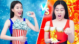 Hot vs Cold Challenge | Hot Girl vs Cold Girl Situations | Funny Moments & Pranks By T-FUN