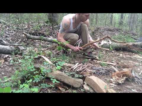 Making a bow-drill set and fire, using only knife and string.