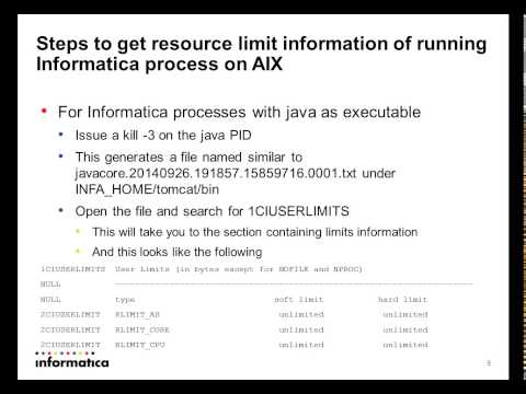 How to find ulimit value of informatica processes on AIX