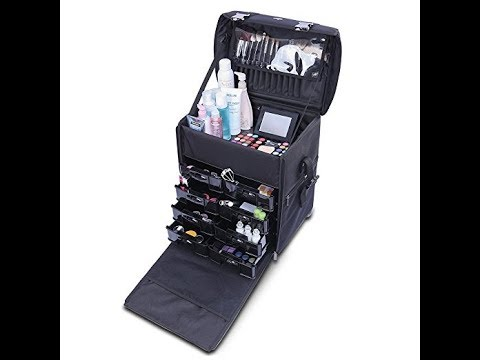 2 in 1 Pro Makeup Artist Case on Wheels, Multifunction Cosmetic Organizer
