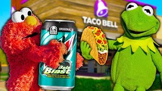 Kermit the Frog and Elmo SURPRISE Taco Bell Employees in Drive Thru!