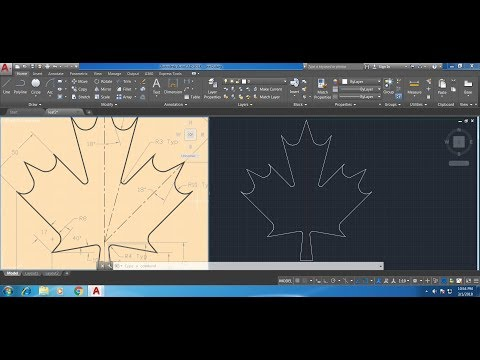 How to draw a maple leaf in AutoCAD fast and easy tutorial