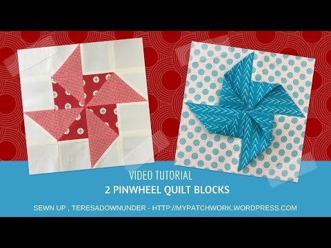 Video tutorial:  2 quick and easy pinwheels quilt blocks