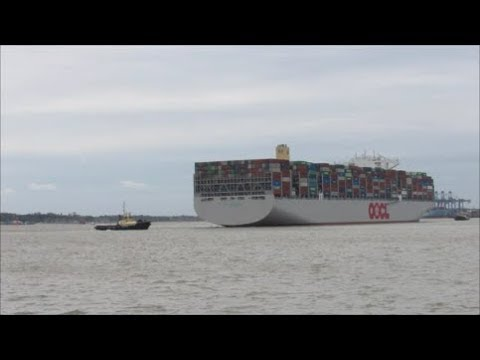 Latest World's largest container ship OOCL Germany makes her maiden call to Felixstowe 04.10.17