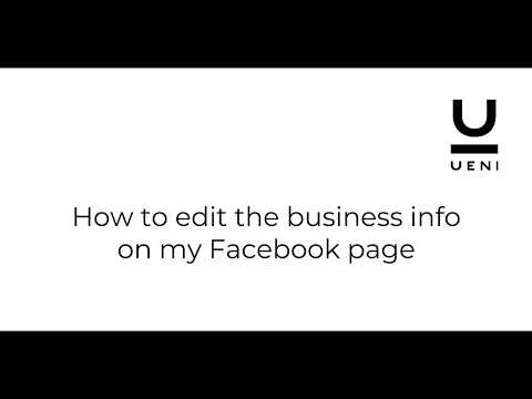 How to edit the business information on your Facebook page